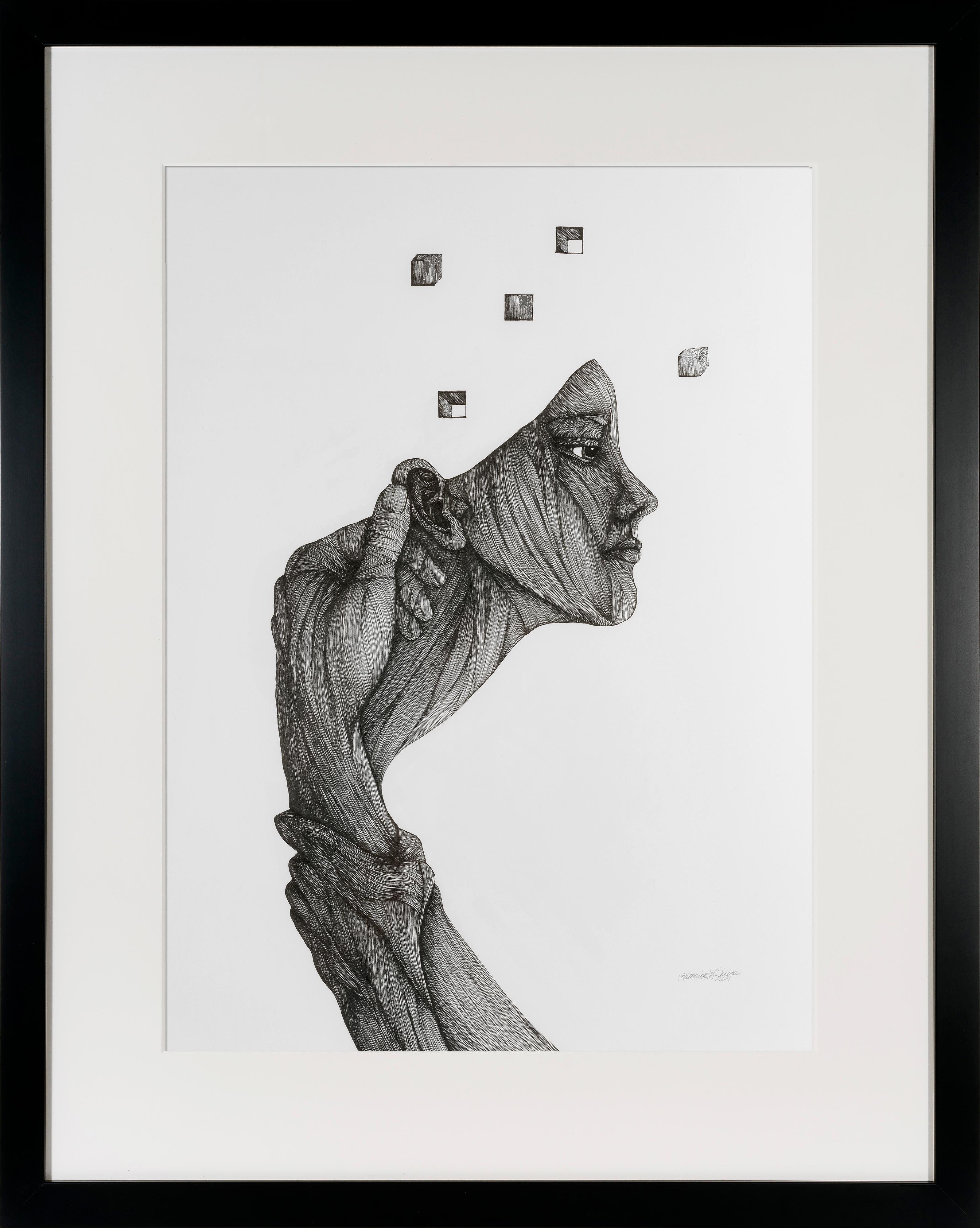"""""""Memory (of a Dream)"""" - Pen, Ink, Black White Drawing of Female Figure"""