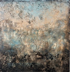 Herd Immunity- Beautiful Abstract Painting  w/ Soft Peach, Blue, + Grey Neutral