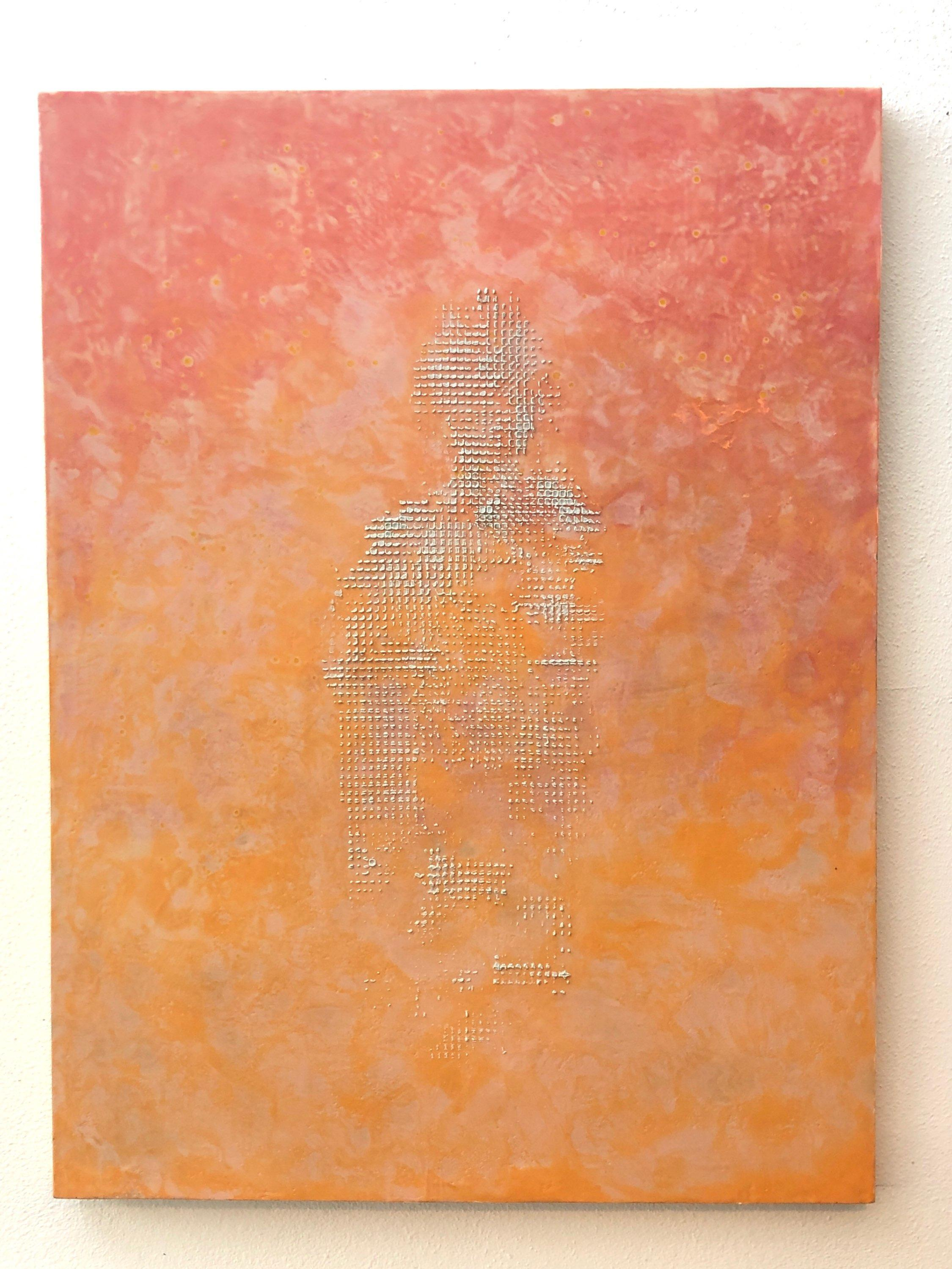 That was Then - Abstract Painting w/ Orange, Pink, Grey White- Luscious Texture