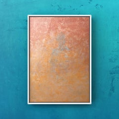 """Ghost Image"" - Abstract Painting w/ Orange, Pink, Grey White- Luscious Texture"