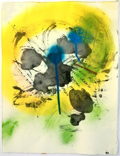 Don't Make a Perfect Weapon - Abstract Spray Paint and Ink on Monotype, Yellow