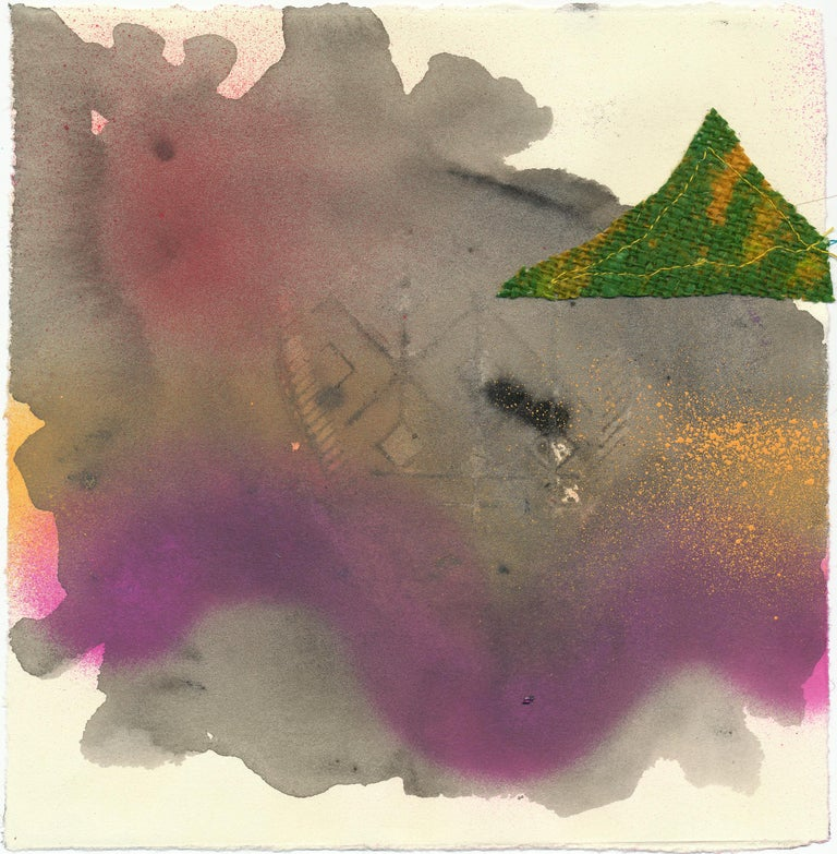 Vivian Liddell Abstract Painting - Foot of Mountain - Landscape Contemporary Mixed Media Abstraction, Purple