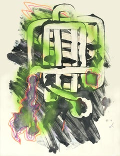 Green Glow - Work on Paper Contemporary Neon Abstraction, Green and Black