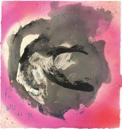 Love Letter iii - Expressionist Abstract Work on Paper with Pink and Black
