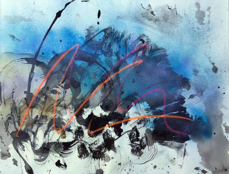 Vivian Liddell Abstract Painting - Sketch With Gold - Abstract Oil Pastel, Spray Paint and Ink on Monotype, Blue