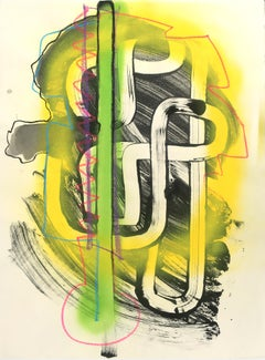 Yellow Glow - Spray Paint Contemporary Abstraction with Yellow and Green