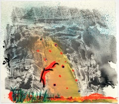 Atomic Frown  - Contemporary Mixed Media Abstraction With Yellow and Black