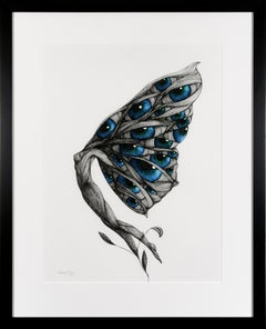 Garden Party VI  - Spectacular Drawing of Winged Female / Butterfly Figure