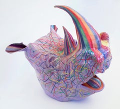 Last Rhino - Rainbow Rhinoceros Sculpture made with Recycled Materials