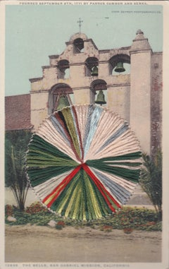 The Bells - Vintage Postcard of Bell Tower with Embroidery Grey, Blue, and Red
