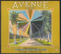 Avenue- Vintage Image of Fruit Label with Embroidery Thread, Yellow & Blue