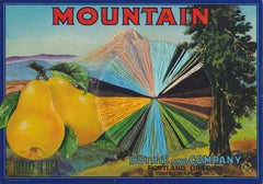 Mountain- Vintage Image of Pear Label with Mountain Landscape, Yellow & Blue