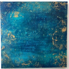 Beauty in Isolation- Dramatic Abstract Painting with Gold and Blue
