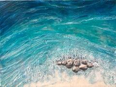 La Jolla Shores - Textural Landscape of San Diego Beach, Blue + Grey + Sand