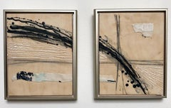 Epic Journey - Dynamic Diptych Paintings Black + Tan + Mint -Modern in Neutrals