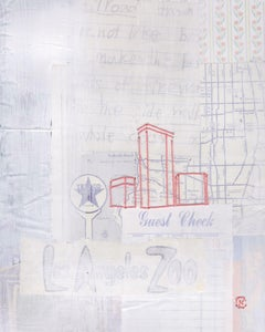 630 Memory Lane- Layered Embroidered Collage, Cream, Red, and Blue