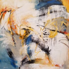 Spacewalker III - Contemporary Abstract Painting in White + Blue + Yellow + Grey
