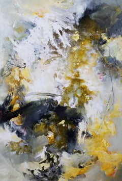 Step Lightly - Gorgeous Stormy Abstract Painting in White + Gold + Grey + Yellow