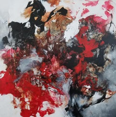 How to Grow a Diamond - Powerful Gestural Abstract Painting, Red + Black + White