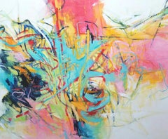 Is there a Road I can Follow - Bright Abstract Painting, Pink + White + Teal