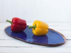 Blue Dish- Deep Toned Handmade White Clay Ceramic Wabi Sabi Tray  Blue Glaze