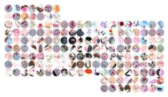 """Full Stop"" 170 pc, Pink, Grey, Blue Circle Abstract Works on Paper"
