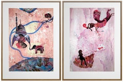"""Desire"" - Framed Contemporary Diptych of India w/ Elephant in Pink + Grey"