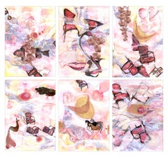 Ocean Deep - 6 Panel Painting of Indian Culture in Pink + Neutrals + Purple