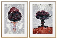Alarming Willingness - Incredible Figurative Landscape Diptych in Grey + Wine