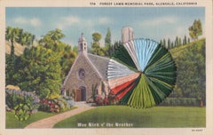 Forest Lawn - Vintage Postcard of Glendale Church in Hillside Landscape