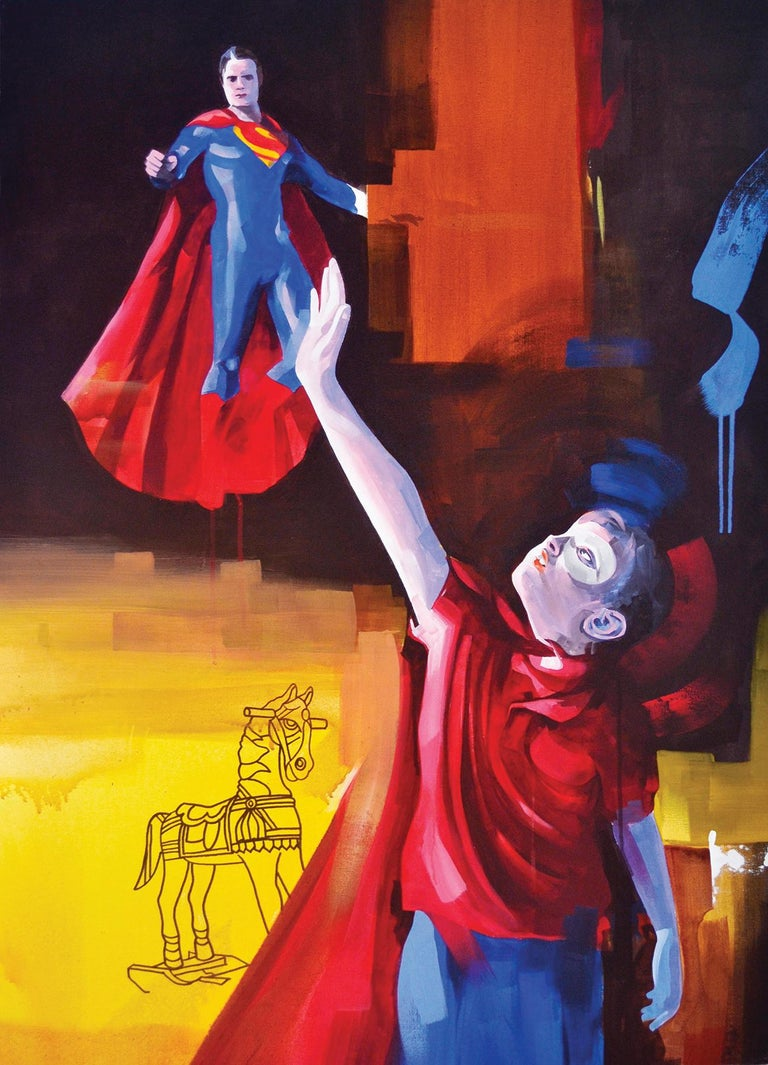 Ritu Sinha Portrait Painting - Make Me One With Everything No. 2- Two Part Conceptual Painting Red+Blue+Green