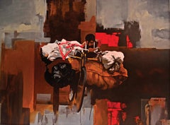 Coalgate- Brooding Figurative Abstract of Indian Resident in Brown + Red + Grey