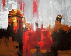 Is Delhi Safe No. 1- Architectural Abstraction with Palette Knife Grey + Red