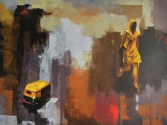 Is Delhi Safe No. 2- Figurative Abstraction with Palette Knife Red+Cream+Black