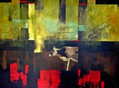 Red Line- Fauvist Painting in Red + Green + Yellow of Black and White Cow