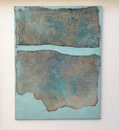 Pared I - Serene Color Field Abstract Landscape. in Sky Blue + Grey + Pink