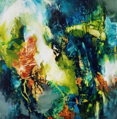 Forest Light #1 - Square Abstract Expressionist Painting in Blue + Green