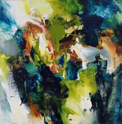 Forest Light #2- Square Abstract Expressionist Painting in Blue + Green