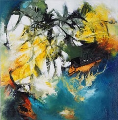 A Little Flash of Insight #2- Abstract Expressionist Painting Blue + Green