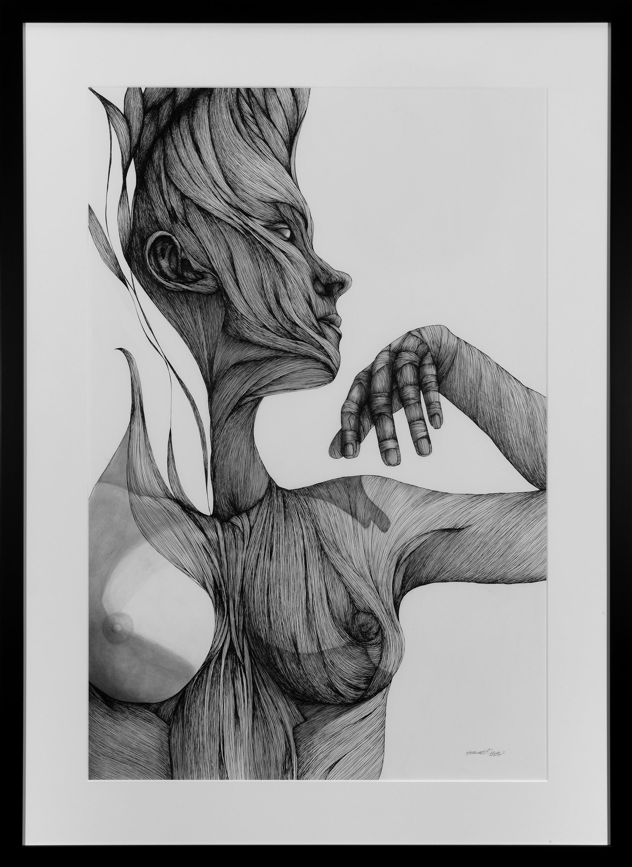 Ether - Pen, Ink, Black White Drawing of Female Figure