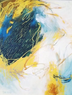 Sheltering #8- Abstract Expressionist Painting Blue + Cream + Yellow
