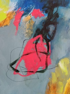 Sheltering #10- Abstract Expressionist Painting Teal + Pink + Yellow