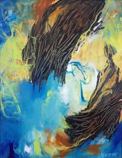 Sheltering #11- Abstract Expressionist Painting Black + Blue + Yellow