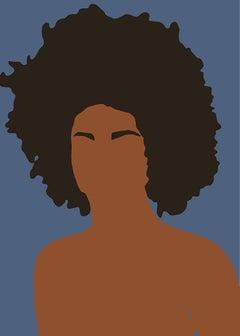 Girl Puff- Portrait of Black / Brown Woman / Figure / Queen in Blue