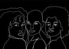 Gyals BW- Digital Illustration of Three Women Black+White (1/20)
