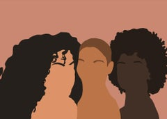 Gyals- Digital Illustration of Three Women Pink+Black+Brown (1/20)