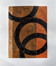 Bronze No. 1- Circular Abstract Painting in Brown + Black with Texture