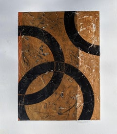 Bronze No. 2- Circular Abstract Painting on Paper