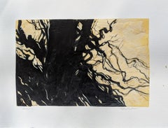 Saratoga Tree- Abstract Line Work Acrylic Painting on Paper of Landscape