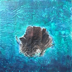 Jewel of the Deep - Contemporary Encaustic Landscape Ocean Sea Beach Scene Blue